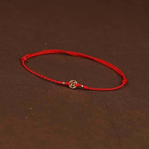 N/A Pulsera de Cuerda roja/Tobillera Moneda de Oro Cuerda roja Tejida a Mano Hombres y Mujeres Cuerda de Mano Cuerda de pie joyería de atmósfera Simple