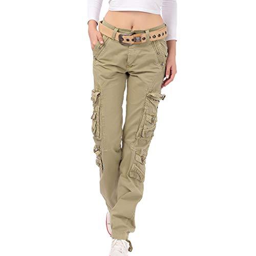 Damen Unifarben Arbeitshose Gerade Cargo Hosen Vintage Cargohose Mehrere Tasche Hosen angenehm & strapazierfähig Hosen (28, Khaki)
