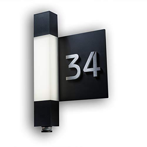 Metzler LED Außenwandleuchte mit Hausnummer-schild Edelstahl - Anthrazit - Bewegungssensor, 8m Reichweite - energiesparsame Beleuchtung