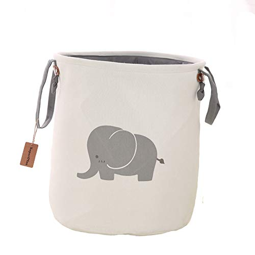 Super iMan Foldable Lined Storage Basket,Basket for Nursery,Baby Nursery, Large Laundry Basket for Kids Room,Toys Organizer (Elephant)