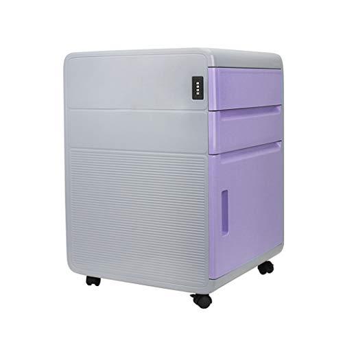 Hänge- & Einstellmappen Passwort Aktenschrank Datenspeicher Schließfach Aktivität DREI Pumpensperre Schubladenschrank Schreibtisch unter dem Passwort Schrank (Color : Purple, Size : 41 * 40 * 59cm)