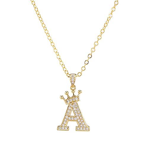 Collar de cadena colgante de corona de circón A-Z de cobre estilo punk hip-hop moda mujer hombre nombre inicial joyería*10pcs