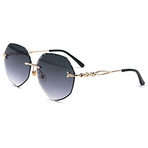 DKEE Gafas de Sol Nuevas Gafas De Sol De Moda Color Sin Bordes Melocotón Gafas De Sol Ocean Beach Espejo (Color : Gray)