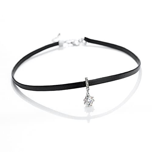 N/A Collar Cuerda de Cuero Negro Colgante de Cristal Regalo para Ella
