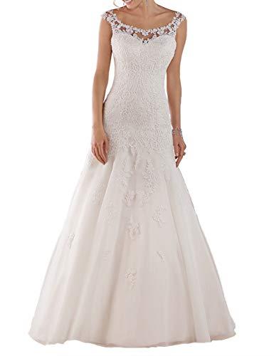 HUINI Vintage Brautkleider Lang Spitzen Hochzeitskleider Strand Brautmode Glitzer Tüll Prinzessin Brautkleid Standesamt Elfenbein 40