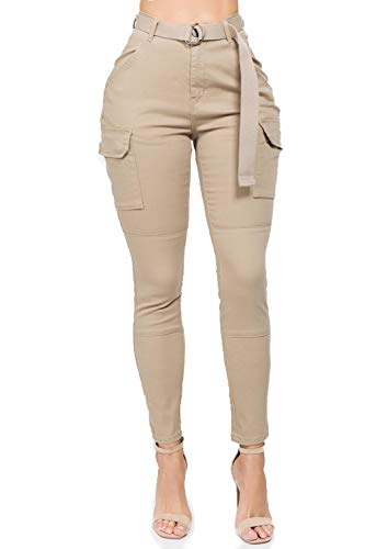 TwiinSisters Women's High Waist Skinny Multi Pockets Utility Cotton Cargo Pants Jogger Jeans with Adjustable Belt for Women - Small, Khaki
