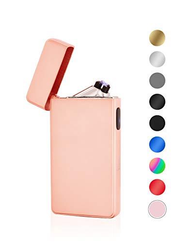 TESLA Lighter TESLA Lighter T13 Lichtbogen Feuerzeug, Plasma Double-Arc, elektronisch wiederaufladbar, aufladbar mit Strom per USB, ohne Gas und Benzin, mit Ladekabel, in Edler Geschenkverpackung, Roseé/Rosa Pink