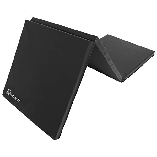 ProsourceFit Tri-Fold Folding Thick Exercise Mat 6'x2' with Carrying Handles for MMA, Gymnastics, Stretching, Core Workouts, Black
