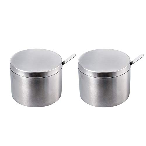 IMEEA Sugar Bowl with Lid and Spoon SUS304 Stainless Steel Seasoning Container Condiment Pot Spice Salt Pepper Storage Organizer