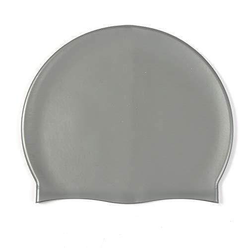 Quanyou Gorro de natación de silicona para adultos y jóvenes general 50G cap impermeable cuidado del cabello gorro de natación nude Cap M004 (Plata)
