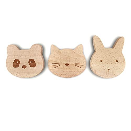Qomfy Home 3er Set Garderobe für Kinder | Tiere: Hase Katze Panda aus Holz | Kinderzimmer, Wandgarderobe, Kindergarderobe, Wandhaken, Kindermöbel, Garderobenhaken, Wanddeko | Mädchen und Jungen
