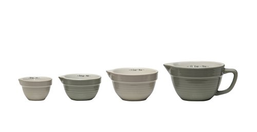 Creative Co-Op DA2318 Set of 4 Batter Bowl Shaped Measuring Cups in Greys