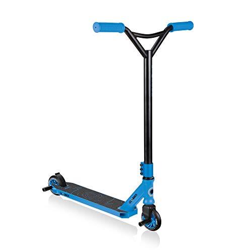 Globber Stunt Scooter GS 540 2 Ruedas para Principiantes Edad 8 +, Adolescentes, Adultos de Aluminio Ancho Deck Flex Freno Trasero de Carbono, Negro, Azul (Black - Blue)