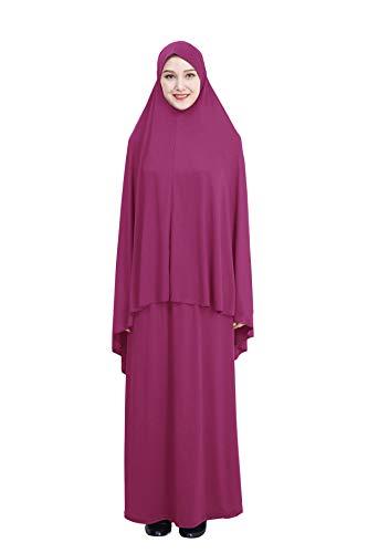 GladThink musulmán Mujer Adoración Abaya Parte Superior Largo Vestido de 2 Piezas con Hijab y Falda Rose XL