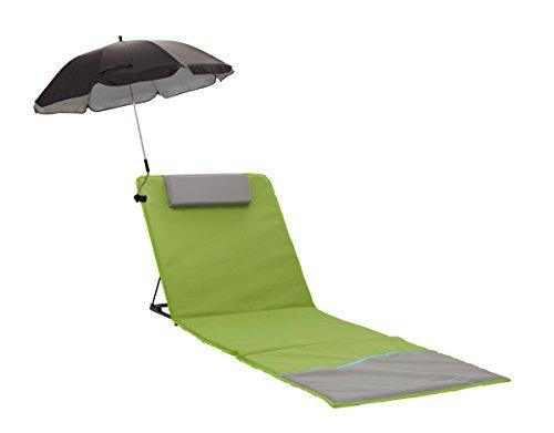 Zeeweh strandmat, XXL, met leuning en scherm, strandligstoel, isomat, picknickdeken, ca. 200 x 60 cm zonnebed, groen/grijs, 200 x 60 x 68 cm