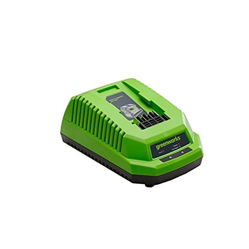 Greenworks Tools G40UC Cargador de baterías (Li-Ion 40 V 2.2A 60 min tiempo de carga con batería de 2Ah apto para todos los dispositivos y baterías de la serie de Greenworks Tools de 40 V)
