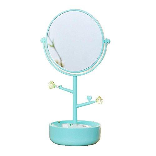 QJIAXING Miroir de Toilette Miroir de Maquillage à Double Face avec boîte de Rangement avec étagères Table rotative Polyvalente, Blue
