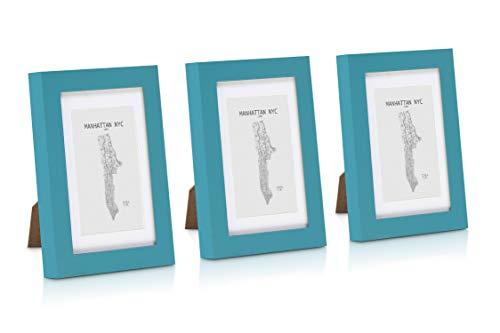 Classic by Casa Chic Paquete de 3 Marcos de Fotos 10 x 15 cm con Paspartú para Fotos 7 x 11 cm - Madera de Pino - Frente de Vidrio - Color Verde Azulado