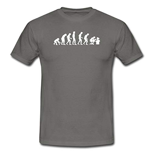 Evolution Nerd Gamer Männer T-Shirt, S, Graphite