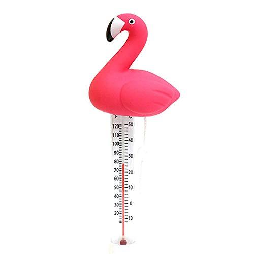 Viitech Schwimmendes Wasserthermometer, Flamingo-Form Baddekor Schwimmbadthermometer mit Schnur für Spa-Whirlpool-Aquarien