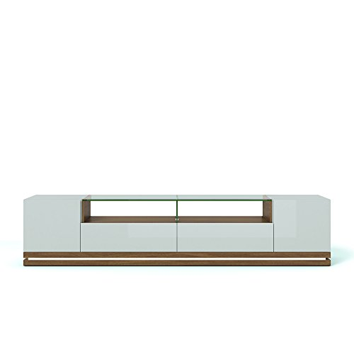 """Manhattan Comfort Vanderbilt Contemporary TV Stand for Flat Screen with LED Lights, 85.4"""" L x 17.6"""" D x 19.5"""" H, Maple Cream and Off White"""