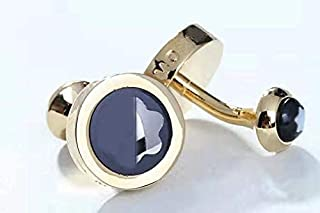 Men's Golden Engraving Exclusive Cufflinks Silver Shirt Cuff Links Business, Wedding Gifts with Gift Box