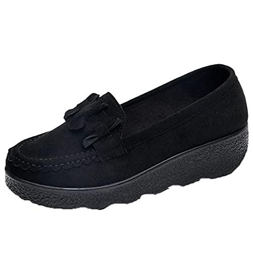 Zapatos de Plataforma de cuña deslizantes para Mujer, usable Informal, Poco Profundo, al Aire Libre, Primavera, otoño, Zapatos Gruesos Vintage, Creepers de Cuero, Trabajo