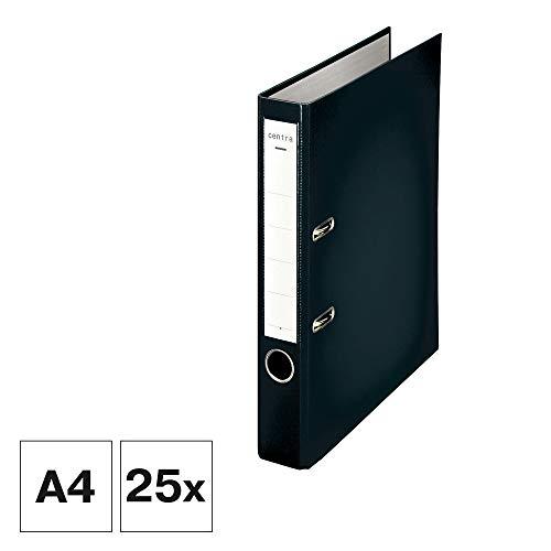 Centra Standard-Ordner (grauappe RC, mit PP-Folie kaschiert, A4, 5,2 cm Rückenbreite, Chromos) schwarz, 25 Stück