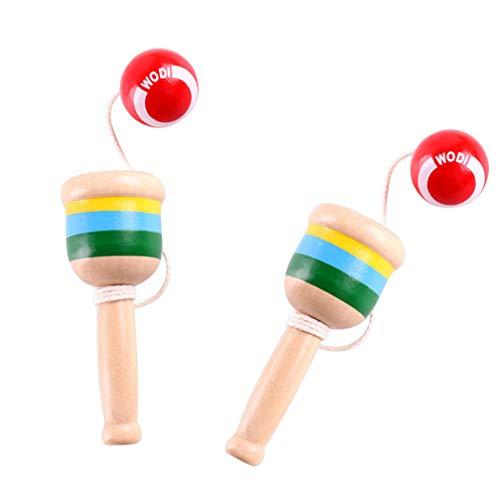 Tomaibaby 2Pcs Bola de Captura de Madera Mini Taza Y Juego de Pelota Mano Coordinación de Ojos Bola de Captura Taza Kendama Juguete de Madera Japonés Regalos para Niños