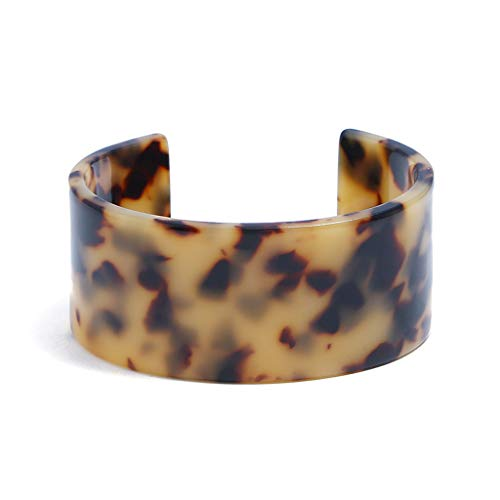 ZOOMY Acryl Schildpatt Breit Braun Manschette Armband Leopard Print Schmuck - Dark Leopard Print