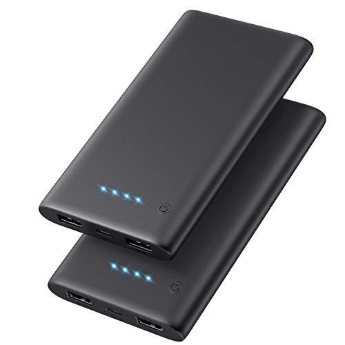 Ekrist Power Bank,【2 Stücke】 10000mAh Externer Akku mit 2 Ausgängen 3.1A, Ultra Kompakter Schnellladung Tragbares Ladegerät Power Pack Akku Pack Powerbank für iPhone, iPad, Samsung