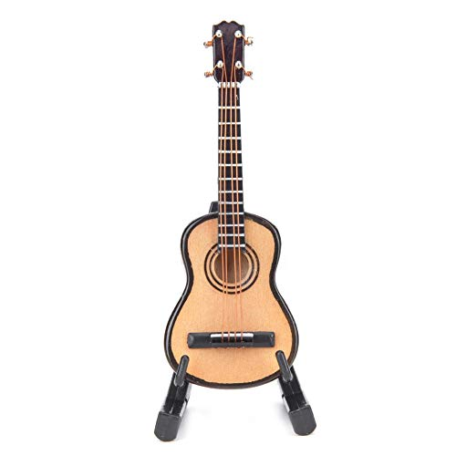 Alinory Hermosa Guitarra en Miniatura, Modelo de Guitarra, Mesa de Sala de música casera simulada para estantería(Wood Color 8cm)