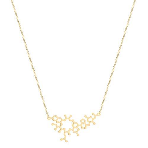 QiuYueShangMao Oxytocin Molekül Halskette für Frauen Männer Wissenschaft Schmuck DNA Chemie Anhänger Halskette Alltagsschmuck Vintage Halskette freundschaftsketten Geschenk
