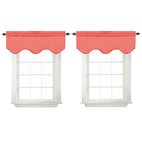 """Blackout Curtains for Living Room/Kitchen Scalloped Valances Short Curtain Panels for Kitchen( 52"""" x 18"""" inches, Coral, 2-Packs)"""