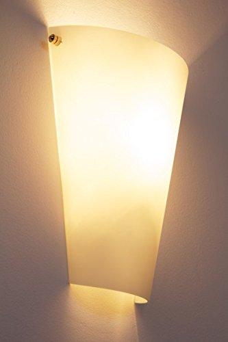 Wandleuchte Zera aus Metall/Glas in weiß, moderne Wandlampe mit Up & Down-Effekt, 1 x E27 max. 60 Watt, Innenwandleuchte mit Lichteffekt, geeignet für LED Leuchtmittel