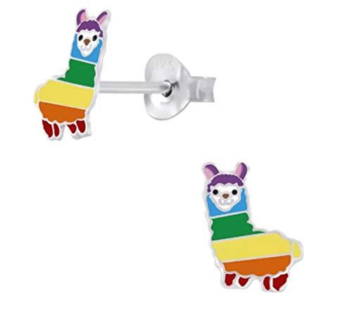 Sterling Silver Rainbow Llama Alpaca Animal Earrings