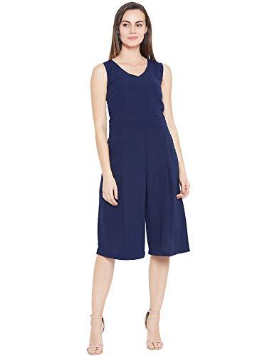 Cottinfab Women Navy Blue Solid Capri Jumpsuit