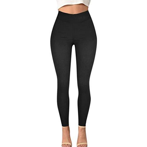 jiumoji pantalones de lápiz sólido tamaño grande para mujer bolsillo jeggins jeans elástico slim fit bootcut pantalones ajustados (-negro M)