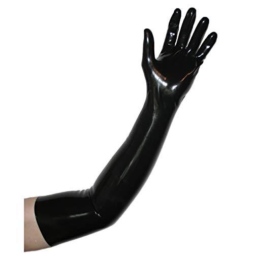 Rubberfashion sehr lange Latex Handschuhe extra dick, Latexhandschuhe zum Oberarm nicht chloriert für Frauen und Herren Menge: 1 Paar schwarz S