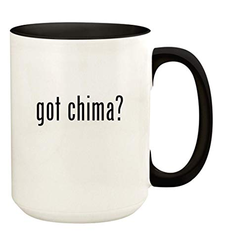 got chima? - 15oz Ceramic Colored Handle and Inside Coffee Mug Cup, Black