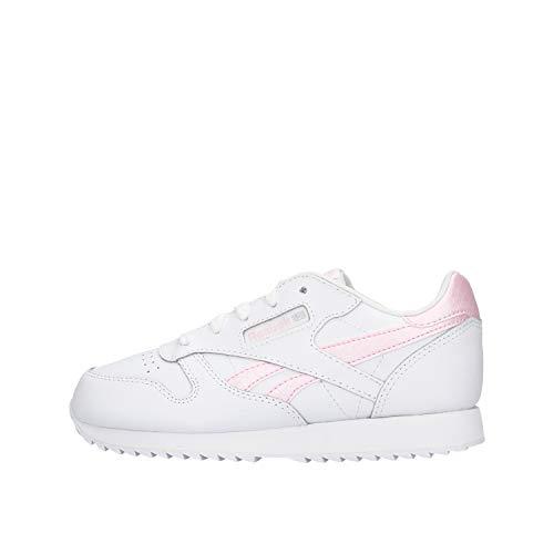 Reebok Mädchen Klassischer Leder-Turnschuh, White/Pixel Pink/None, 30 EU
