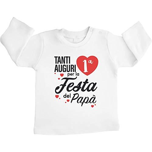Tanti Auguri per la Prima Festa del papà Maglietta Neonato Manica Lunga 3-6 Mesi Bianco