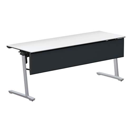 コクヨ 会議テーブル カーム KT-PJS1401P81PAWNN 天板フラップ式 樹脂パネル付き直線タイプ 電源コンセントなし棚付き フラットシルバー脚/天板ホワイト 幅180×奥行き60cm