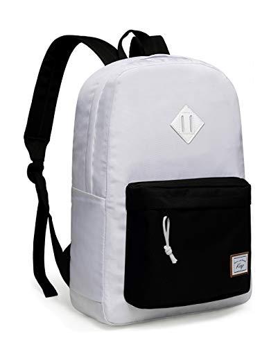 School Backpack, Kasqo Unisex Water-Resistant Teen Rucksack Travel Daypack White