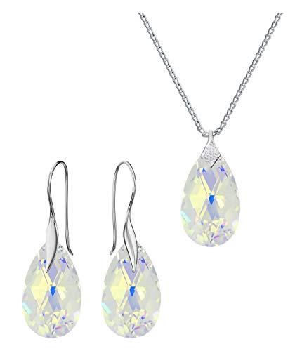 Crystals & Stones – Crystal AB – BO/1 Set di gioielli in vero argento 925 – Orecchini con Swarovski – Orecchini e collana – Gioielli con scatola regalo (ametista)