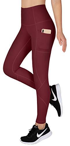 LifeSky Pantalones de Yoga para Mujer, Talle Alto Control de Barriga, Leggings de Entrenamiento con Bolsillos, Estiramiento en 4 direcciones, XXL, 9856 Rojo Vino