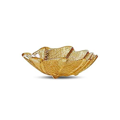 European Amber Glass Leaf Fruit Bowl, Sala de Estar casera Fruta Seca Bandeja de Aperitivos Dulces Plato de Postre KTV Plato de Frutas Decoración para el hogar Adornos (Size : 20.5cm*5.5cm)