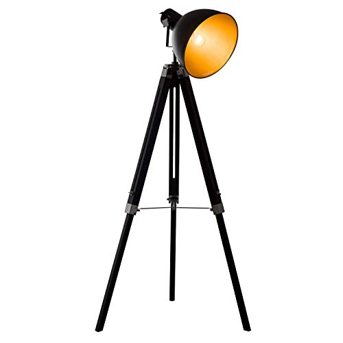 HOMCOM Industrial Floor Lamp for Living Room Tripod Spotlight Reading Lamp w/Wood Legs Metal Shade Adjustable Height Angle for Bedroom Home Office Black and Gold