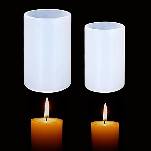2 moldes para velas cilíndricas, coloridos cilindros de resina, moldes para velas de pilar para hacer velas, hacer manualidades, cera, velas (cilindro)