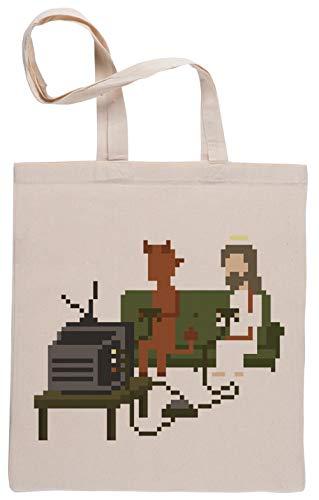 Jesús Y Diablo Jugando Vídeo Juegos Pixel Art Bolsa De Compras Shopping Bag Beige